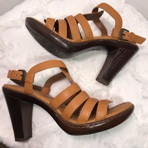 """BOC 4"""" Heel Strappy Brown Leather Sandals size 7"""